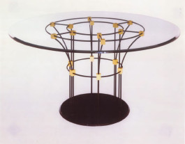 Round metal base table