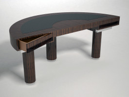 Half round palm wood and leather top desk