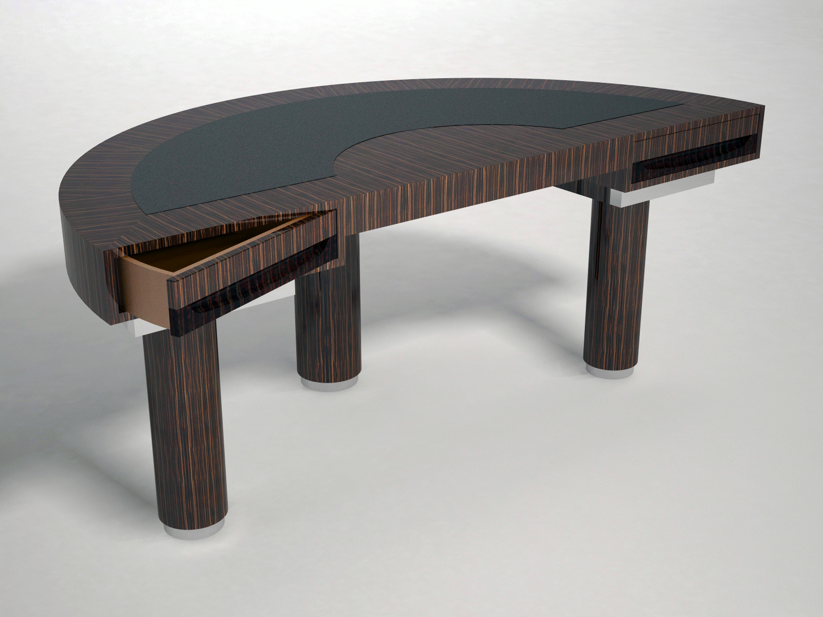 Half Round Palm Wood And Leather Top Desk Tables