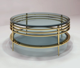 Pediment round shelf cocktail table